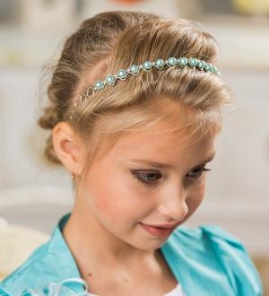 """Ободок для волос """"Жемчуг-страза"""".Изящный ободок со стразами и жемчугом для маленьких принцесс, миниатюрные ромбики придают аксессуару особое очарование."""