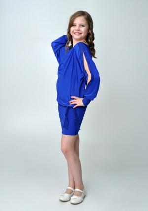 """Элегантное платье """"Анастасия"""" синего цвета.Красивое платье с длинным рукавом, короткой юбкой. Оригинальный наряд для настоящих модниц. Идеальный наряд для любого праздника."""