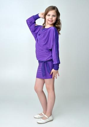 """Элегантное платье """"Анастасия"""" фиолетового цвета.Красивое платье с длинным рукавом, короткой юбкой. Оригинальный наряд для настоящих модниц. Идеальный наряд для любого праздника."""