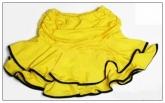 """Желтая юбка """"Латина"""" для танцев с черными вставками на воланах."""