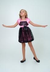 """Нарядное платье """"Кристи"""" розово-черного цвета с болеро."""