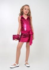 """Нарядное платье с сумочкой """"Аглая"""" малинового цвета."""