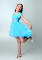 """Нарядное платье """"Анна"""" голубого цвета с болеро."""