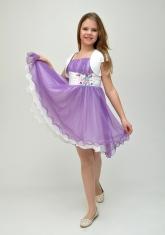 """Нарядное платье с болеро """"Анна"""" сиреневого цвета с белым."""