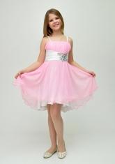 """Нарядное платье с болеро """"Анна"""" розового цвета с белым."""