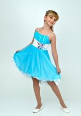 """Нарядное платье с болеро """"Анна"""" голубого цвета с белым."""