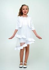 """Элегантное платье с болеро """"Любава"""" белого цвета."""