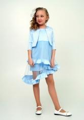 """Элегантное платье с болеро """"Любава"""" голубого цвета."""