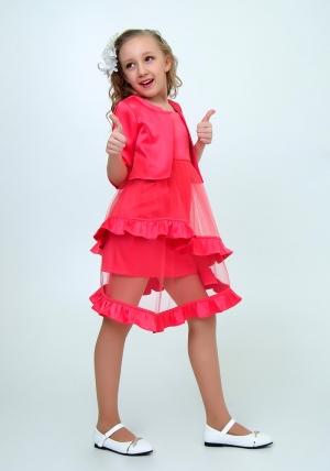 """Элегантное платье с болеро """"Любава"""" цвет арбузный.Красивое платье с оригинальной юбкой, платье для настоящих модниц. Данное платье застегивается на молнию, а бретельки регулируются."""