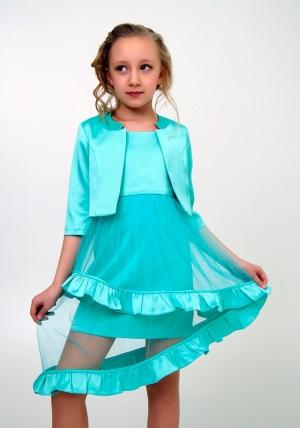 """Элегантное платье с болеро """"Любава"""" ментолового цвета.Красивое платье с оригинальной юбкой, платье для настоящих модниц. Данное платье застегивается на молнию, а бретельки регулируются."""
