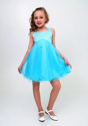 """Нарядное платье """"Елена"""" бирюзовый цвет.Элегантное платье для настоящих модниц и красавиц. Вверх платья украшен жемчугом и пышной многослойной юбкой."""