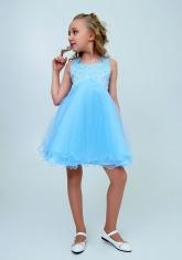 """Нарядное платье """"Елена"""" цвет голубой."""