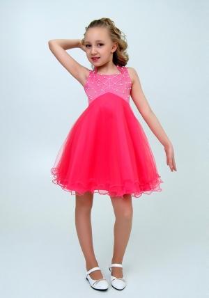 """Нарядное платье """"Елена"""" арбузный цвет. Элегантное платье для настоящих модниц и красавиц. Вверх платья украшен жемчугом и пышной многослойной юбкой."""