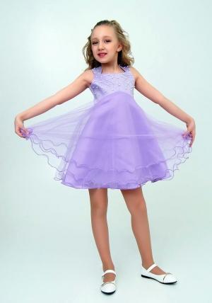 """Нарядное платье """"Елена"""" цвет сиреневый.Элегантное платье для настоящих модниц и красавиц. Вверх платья украшен жемчугом и пышной многослойной юбкой."""
