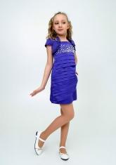 """Нарядное платье с болеро """"Волна"""" цвет фиолетовый."""