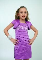 """Нарядное платье с болеро """"Волна"""" цвет сиреневый."""