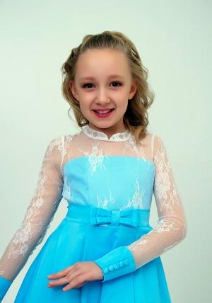 """Нарядное платье """"Василина"""" цвет голубойс белым кружевом.Элегантное платье для настоящих модниц и красавиц. Оригинальное платье для любых торжеств и праздников."""