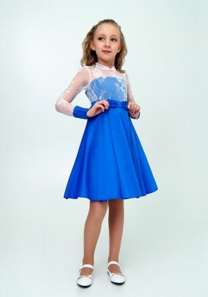 """Нарядное платье """"Василина"""" цвет электрикс белым кружевом.Элегантное платье для настоящих модниц и красавиц. Оригинальное платье для любых торжеств и праздников."""