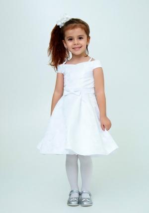 """Нарядное платье """"Ия"""" цвет белый.Детское платье, идеально на любой праздник или утренник в детском саду для вашей малышки. Красивое платье с пышной юбкой для самых маленьких девочек. Красивое и модное платье из оригинальной ткани с нежным рисунком, украшено бантиком на талии. На спинке платье застегивается на молнию и завязывается на бант."""