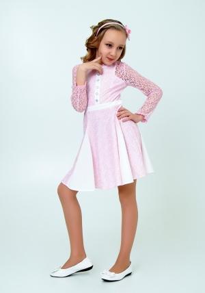 """Нарядное платье с кружевом """"Северина"""" цвет розовый. Нежное и красивое платье для настоящих модниц."""