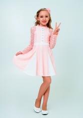 """Нарядное платье с кружевом """"Северина"""" цвет персиковый."""