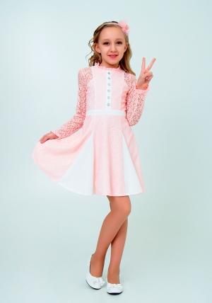 """Нарядное платье с кружевом """"Северина"""" цвет персиковый.Нежное и красивое платье для настоящих модниц."""