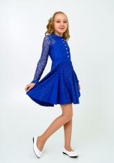 """Нарядное платье с кружевом """"Северина"""" цвет электрик."""