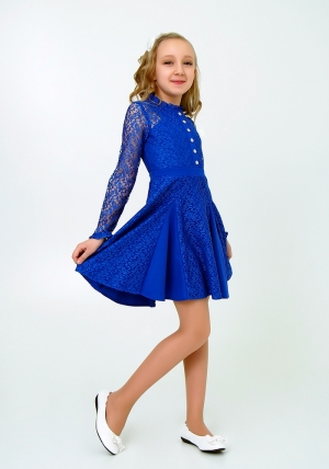 """Нарядное платье с кружевом """"Северина"""" цвет электрик. Нежное и красивое платье для настоящих модниц."""