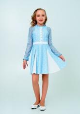 """Нарядное платье с кружевом """"Северина"""" цвет голубой."""