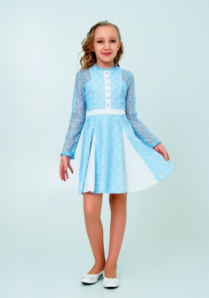 """Нарядное платье с кружевом """"Северина"""" цвет голубой.Нежное и красивое платье для настоящих модниц."""