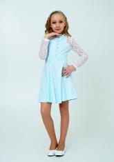 """Нарядное платье с кружевом """"Северина"""" цвет тиффани."""