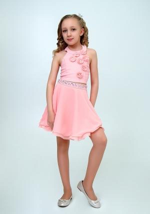 """Нарядный комплект """"Лилиана"""" цвет персиковый. Красивый и нарядный комплект для настоящих модниц и красавиц. Вверх топа украшен цветочками. Отличный вариант на любой праздник или торжество. Прекрасный наряд на выпускной."""