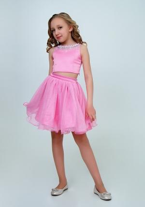 """Нарядный комплект с пышной юбкой """"Искра"""" цвет розовый. Оригинальный и очень нарядный комплект для настоящих модниц и красавиц. Вверх топа украшен жемчугом и стразами."""