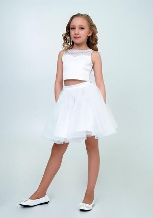 """Нарядный комплект с пышной юбкой """"Искра"""" цвет белый. Оригинальный и очень нарядный комплект для настоящих модниц и красавиц. Вверх топа украшен жемчугом и стразами."""