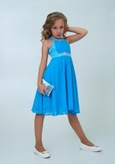 """Нарядное платье с болеро """"Екатерина"""" цвет голубой."""