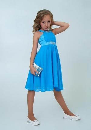 """Нарядное платье с болеро """"Екатерина"""" цвет голубой. Оригинальное и очень красивое платье со стразами. Платье на молнии и шнуровке."""