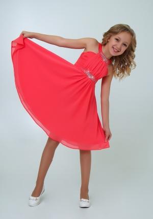 """Нарядное платье с болеро """"Екатерина"""" цвет арбузный. Оригинальное и очень красивое платье со стразами. Платье на молнии и шнуровке."""