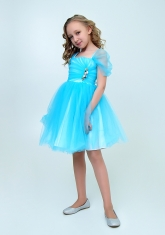 """Нарядное платье """"Августина"""" цвет голубой."""