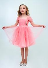 """Нарядное платье """"Августина"""" цвет персиковый."""