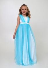 """Элегантное платье """"Вилена"""" бело-голубого цвета."""