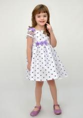 Нарядное платье белого цвета в сиреневый горох.