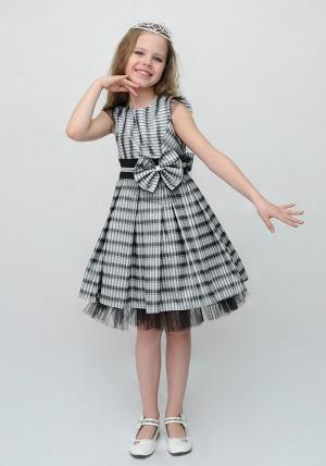 """Нарядное платье """"Марта"""" черного цвета с серебром.Элегантное платье для настоящих модниц. Платье красивого кроя с большим бантом на поясе и с нижней вставкой на юбке из сетки. Платье немного маломерит."""