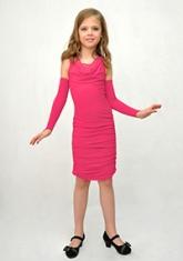 """Элегантное платье """"Жаклин"""" малинового цвета с перчатками."""