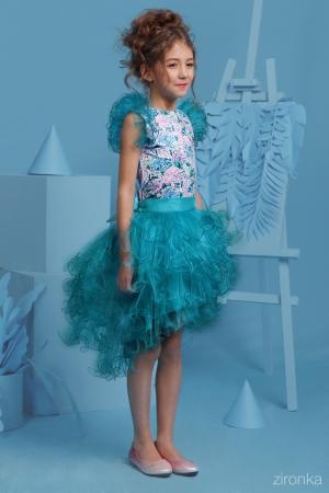 """Новинка сезона! Нарядный комплект """"Даниэла"""" с пышной юбкой темно-бирюзового цвета. Комплект состоит из блузки с принтом """"цветы и бабочки"""" и пышной юбки темно-бирюзового цвета. Красивый наряд на весенний праздник, а также любое торжество! Ваша девочка будет самой яркой и красивой на празднике!"""