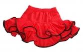 """Красная юбка """"Латина"""" для танцев с черными вставками на воланах."""