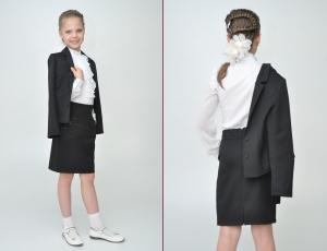Школьный костюм для девочки черного цвета с длинным рукавом. Школьный пиджак и прямая юбка идеальный наряд для школы. Стильный и красивый костюм можно носить как в школу, так и в повседневной жизни.