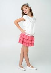 "Нарядное платье ""Калинда"" молочно-кораллового цвета."