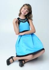"""Нарядное платье """"Кассандра"""" бирюзового цвета с болеро."""