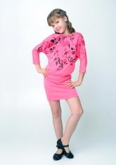 "Трикотажное платье ""Жанетта"" темно-розового цвета с рисунком."