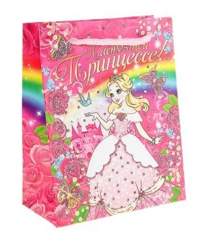 """Пакет """"Настоящей принцессе"""".Подарочная упаковка это отличный выбор для упаковки подарка или аксессуара. Каждая девочка будет рада получить свой подарок или аксессуар в таком красивом пакете."""